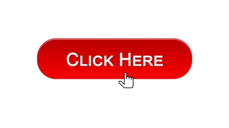 Click here web interface button clicked mouse cursor, red color, advertising, stock footage Foto de archivo