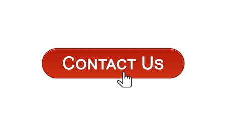 Contact us web interface button clicked with mouse cursor, wine red color, help, stock footage