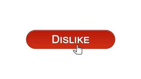 Dislike web interface button clicked with mouse cursor, wine red color, online, stock footage 스톡 콘텐츠