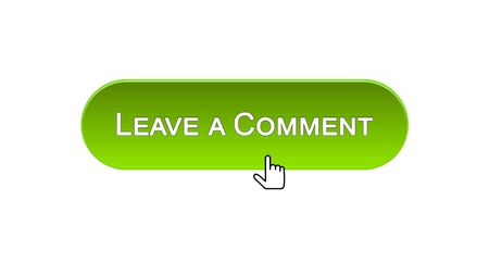 Leave a comment web interface button clicked with mouse cursor, green color, stock footage Standard-Bild