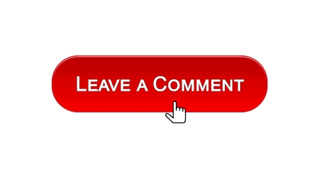 Leave a comment web interface button clicked with mouse cursor, red color, stock footage Standard-Bild