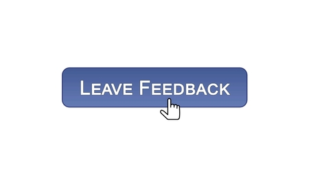 Leave feedback web interface button clicked with mouse cursor, violet color, stock footage