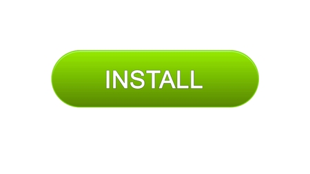 Install web interface button green color, application downloading, site design, stock footage Stok Fotoğraf