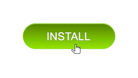Install web interface button clicked with mouse cursor, green color, application, stock footage