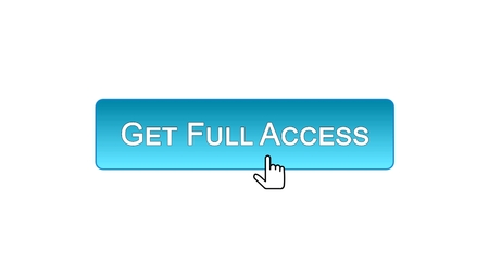 Get full access web interface button clicked with mouse cursor, blue color, stock footage