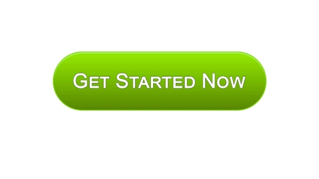 Beginnen Sie jetzt grüne Farbe des Netzschnittstellenknopfes, Geschäftsstrategie, Internet, Gesamtlänge auf Lager