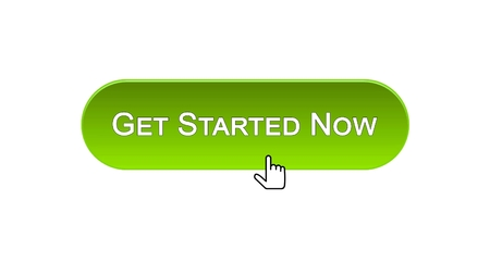Get started now web interface button clicked with mouse cursor, green color, stock footage Standard-Bild