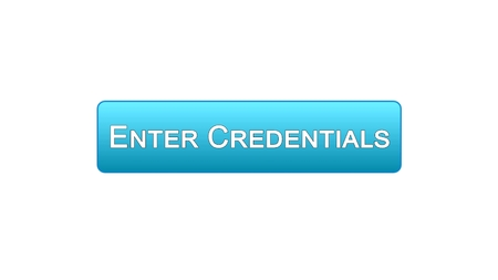 Enter credentials web interface button blue color, registration online service, stock footage