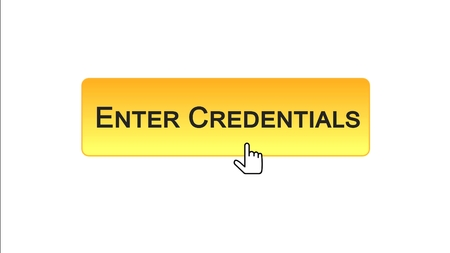 Enter credentials web interface button clicked with mouse, orange color design, stock footage