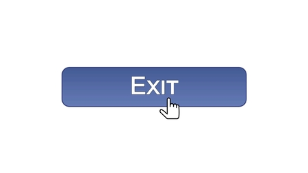 Exit web interface button clicked with mouse cursor, violet color, log-out, stock footage Stok Fotoğraf
