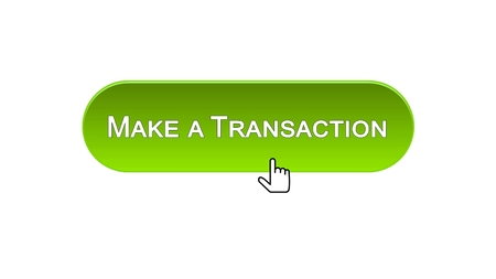 Make a transaction web interface button clicked with mouse cursor, green color, stock footage Stock Photo