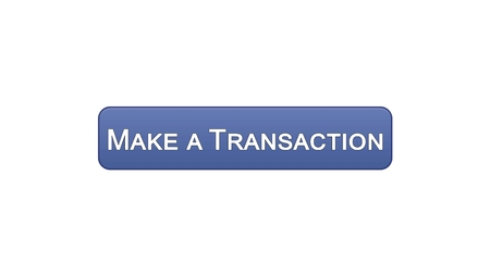 Make a transaction web interface button violet color, online bank application, stock footage