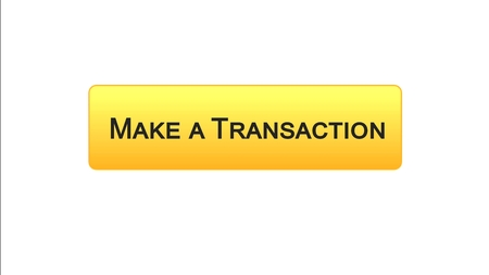Make a transaction web interface button orange color, online bank application, stock footage