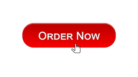 Order now web interface button clicked with mouse cursor, red color, online, stock footage