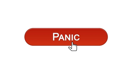 Panic web interface button clicked with mouse cursor wine red color, site design, stock footage Stock Photo