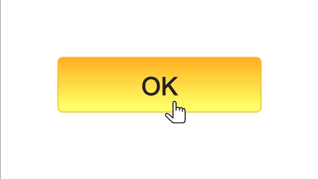 Ok web interface button clicked with mouse cursor, orange color, site design, stock footage