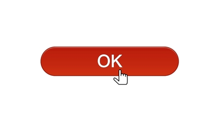 Ok web interface button clicked with mouse cursor, win red color, site design, stock footage Stock Photo