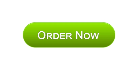 Order now web interface button green color, online shopping application, service, stock footage Foto de archivo