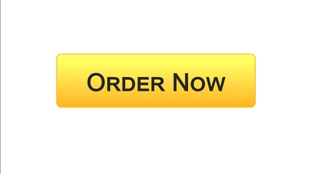 Order now web interface button orange color, online shopping application, stock footage