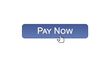 Pay now web interface button clicked with mouse cursor, violet color, online, stock footage Stock Photo