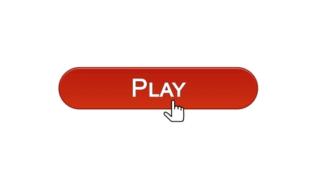 Play web interface button clicked with mouse cursor, wine red color, online game, stock footage Stock Photo