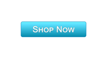 Shop now web interface button blue color, online shopping service, advertisement, stock footage