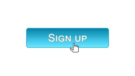 Sign up web interface button clicked with mouse cursor, blue color, online, stock footage