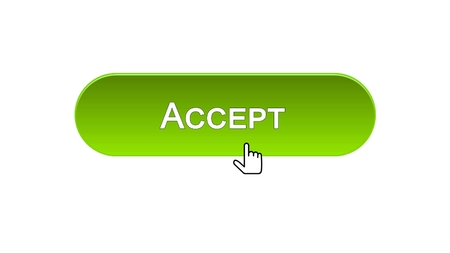 Accept web interface button clicked with mouse cursor, green color design, stock footage
