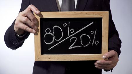 80 to 20 percent written on blackboard, man holding sign, Pareto principle