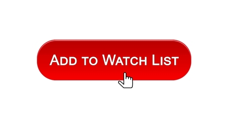 Add to watch list web interface button clicked with mouse cursor, red color, stock footage Stock Photo