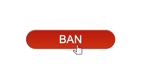Ban web interface button clicked with mouse cursor, wine red color, disapproval, stock footage