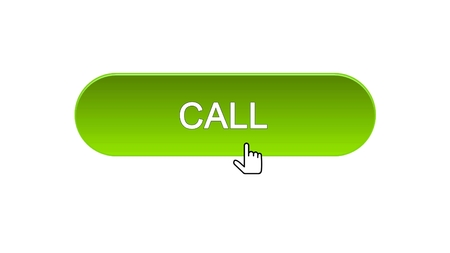 Call web interface button clicked mouse cursor, green color, technical support, stock footage Stock Photo