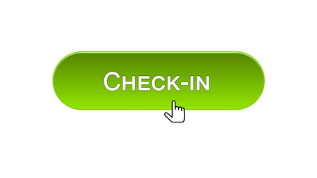 Check-in web interface button clicked with mouse cursor, green color, airport, stock footage