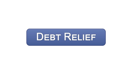 Debt relief web interface button violet color, credit counseling, business, stock footage