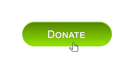 Donate web interface button clicked with mouse cursor, green color, support, stock footage Stock Photo
