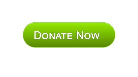Donate now web interface button green color, social support, volunteering, stock footage Stock Photo