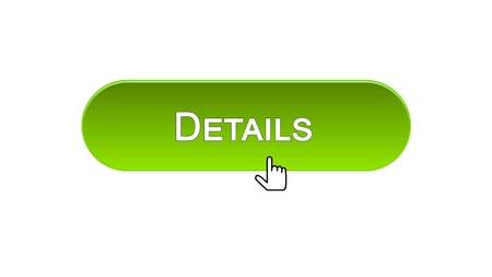 Details web interface button clicked with mouse cursor, green color, analysis, stock footage