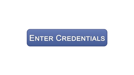 Enter credentials web interface button violet color, registration online service, stock footage