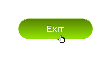 Exit web interface button clicked with mouse cursor, green color, log-out, stock footage