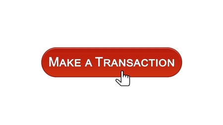 Make a transaction web interface button clicked with mouse cursor, win red color, stock footage