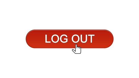 Log out web interface button clicked with mouse cursor wine red, application, stock footage