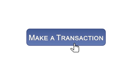 Make a transaction web interface button clicked with mouse cursor, violet color, stock footage
