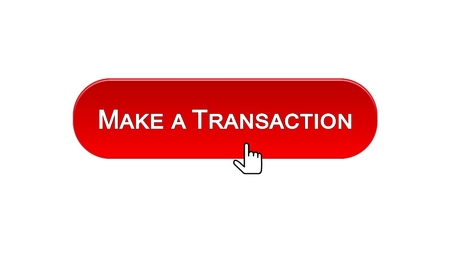 Make a transaction web interface button clicked with mouse cursor, red color, stock footage