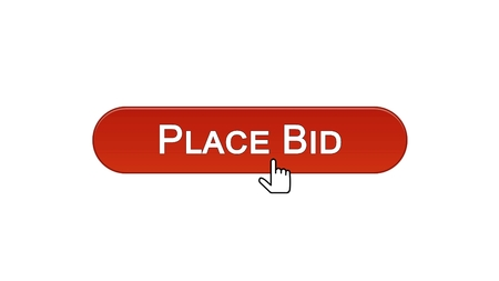 Place bid web interface button clicked with mouse cursor wine red color, finance, stock footage Stock Photo