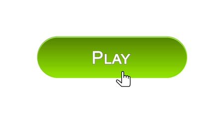 Play web interface button clicked with mouse cursor, green color, online game, stock footage