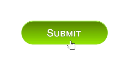 Submit web interface button clicked with mouse cursor, green color, online, stock footage