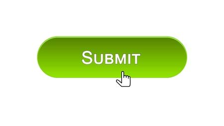 Enviar el botón de la interfaz web con el cursor del mouse, color verde, en línea, material de archivo