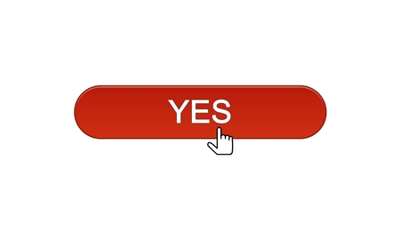 Yes web interface button clicked with mouse cursor wine red, online program, stock footage