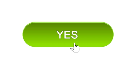 Yes web interface button clicked with mouse cursor, green color, online program Stock Photo