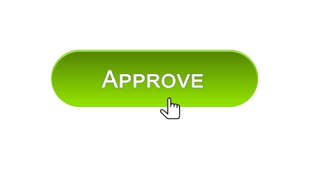 Approve web interface button clicked with mouse cursor, green color, guarantee, stock footage